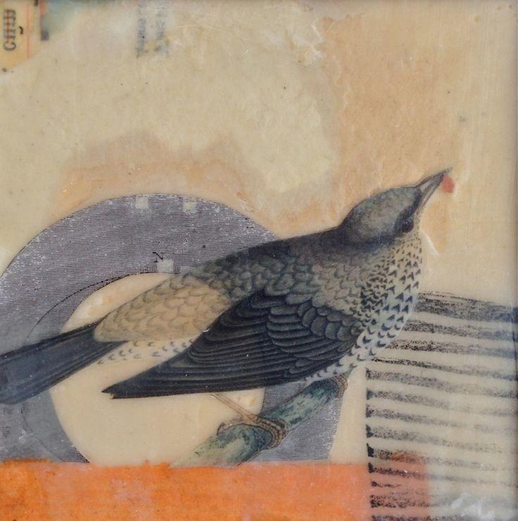"Lynn Watt - ""Last Bird"", collage - (monoprint, ink, paper, watercolor, wax)"