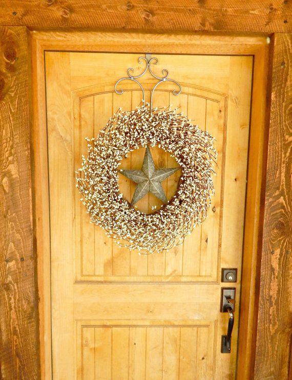 SILVER & ANTIQUE WHITE Barn Star Door Wreath-Large Wreath-Fall Wreath-Texas Star Decor-Scented Vanilla Cinnamon-Custom Choose Star-Scent