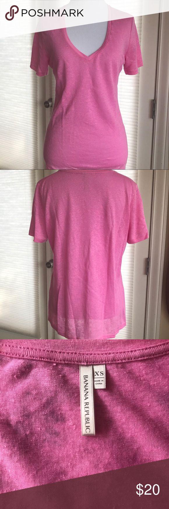 Banana Republic Deep V Neck Linen TShirt. NWOT Never worn.  Great shade of pink.  NWOT Banana Republic Tops Tees - Short Sleeve