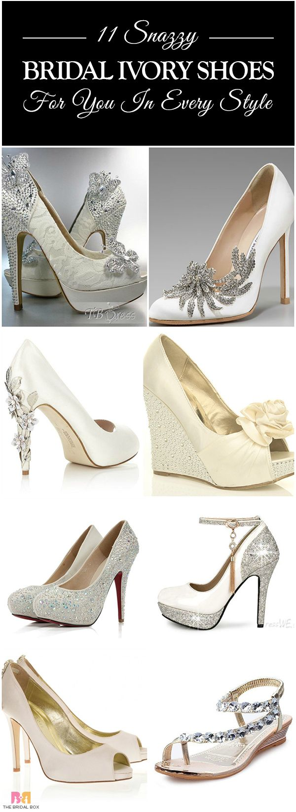 The snazziest line-up of gorgeous bridal ivory shoes that will have the bride looking stunning, and the bridesmaids eagerly awaiting their wedding!