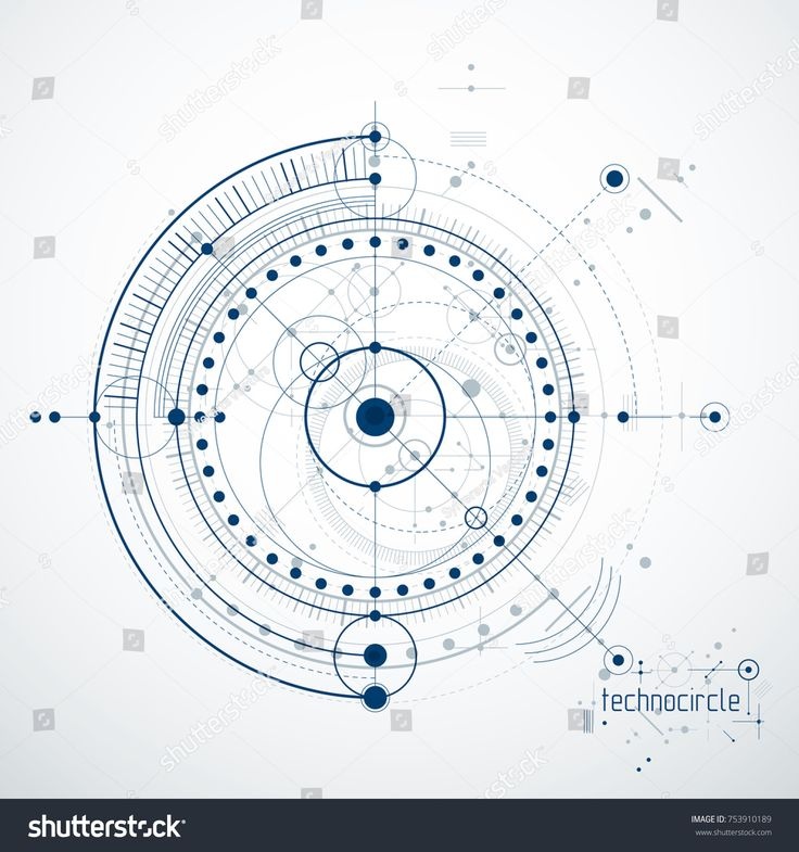 Engineering technological vector wallpaper made with circles and lines. Modern geometric composition can be used as template and layout. Abstract tech…