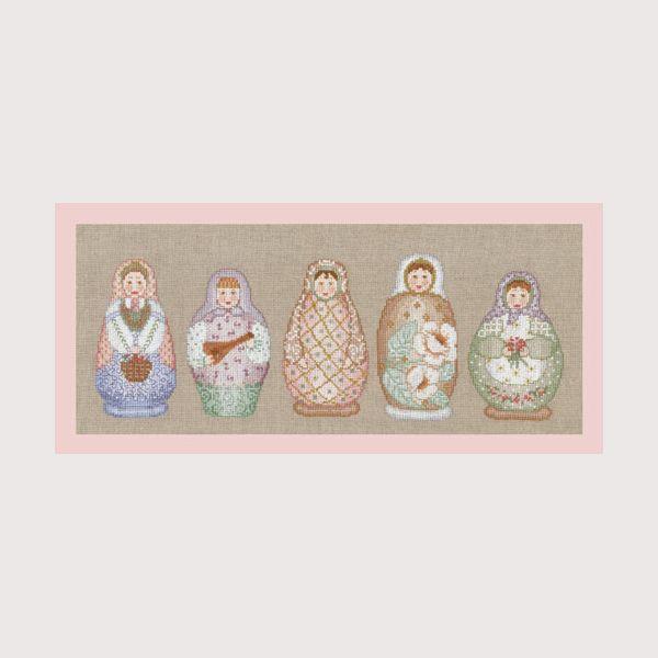 Frise poupées russes réf. 1068 à broder au point de croix sur toile Aida de lin. Création de Cécile Vessière Le Bonheur des Dames