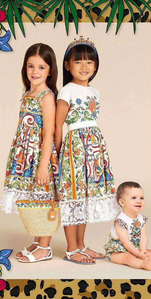 3b978fdc15 DOLCE   GABBANA Blue   Green Majolica Mini Me Dresses for Spring Summer  2018. Inspired by Sicilian majolica ceramics
