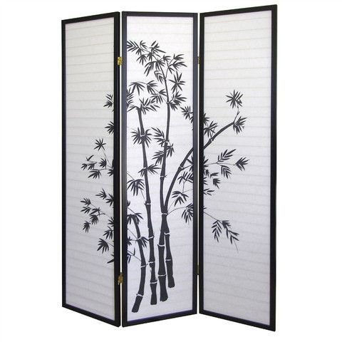 A bamboo room divider with 3 panels. Made of wood with a bamboo design. At $118 it is impossible to miss. See more by visiting http://budget-furniture.net