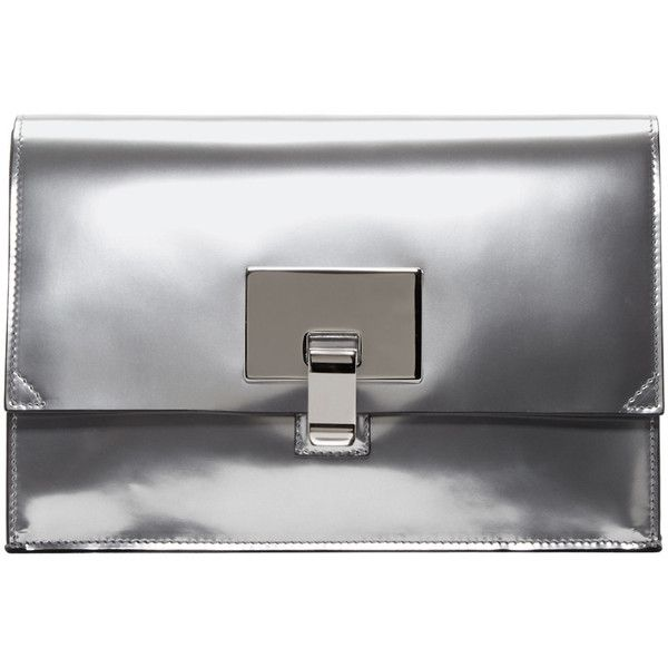 Proenza Schouler Silver Mirrored Small Lunch Bag Clutch ($775) ❤ liked on Polyvore featuring bags, handbags, clutches, proenza schouler handbags, proenza schouler pochette, structured handbags, clasp purse and proenza schouler