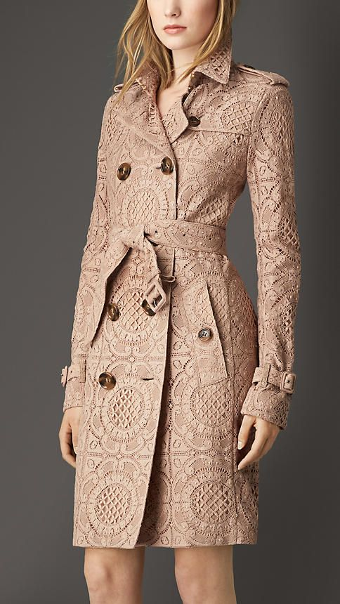 Burberry London Nude English Lace Trench Coat - A trench coat crafted from English-woven lace. The fitted piece is fully lined in smooth stretch silk. Design details including epaulettes, a gun flap and storm shield reference the original Burberry trench coat. Discover the women's outerwear collection at Burberry.com