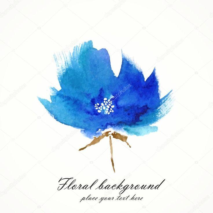 Fiore blu. elemento decorativo floreale. acquerello sfondo floreale — Immagini Stock #38640567