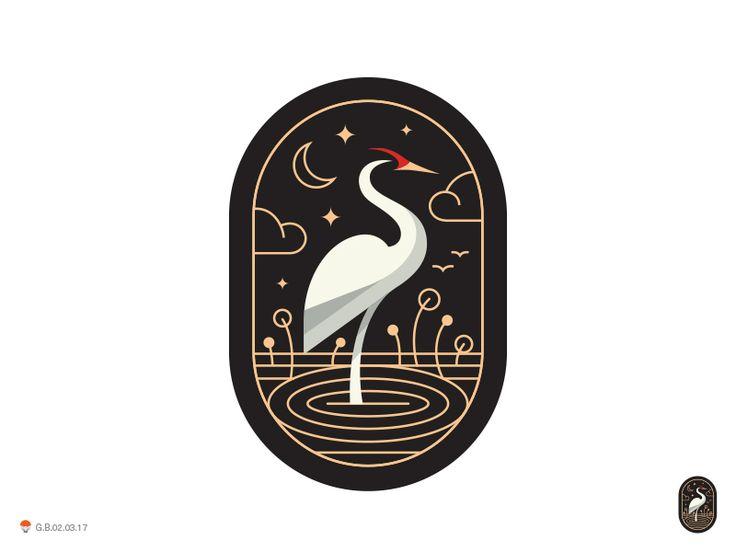Crane Capsul logo design bird oval enclosure illustration icon