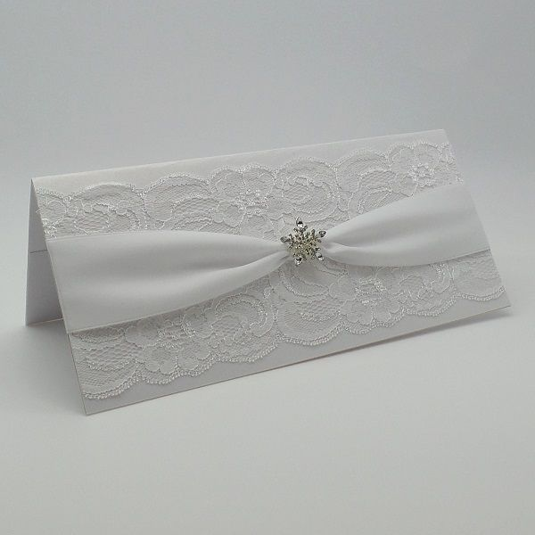 LUXURY HANDMADE LACE CHRISTMAS MONEY WALLET GIFT VOUCHER POUCH DIAMANTE SNOWFLAKE, Vintage Lace Wedding Cards  Available from www.vintagelaceweddingcards.co.uk