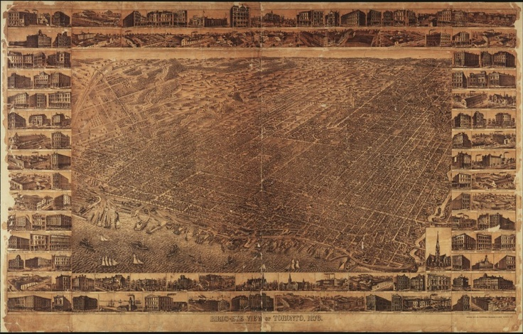 """1876 PA Gross Bird's Eye View of Toronto. For three years, P. A. Gross walked every avenue, street, lane, and alley from Fort York to the Don River, north through Rosedale, Yorkville, and beyond, to produce this 1876 Bird's-Eye View of Toronto. In his rambles, he sketched every shop, dwelling, and factory in Toronto—14,000 private and public buildings in all—with """"a faithfulness and a minuteness that excites astonishment and admiration in all beholders,"""" according to Illustrated Toronto…"""