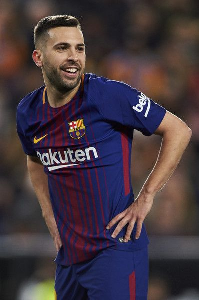 Jordi Alba of FC Barcelona looks on during the Copa de Rey semi-final second leg match between Valencia and Barcelona on February 8, 2018 in Valencia, Spain.