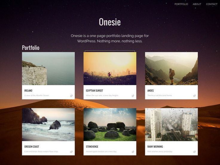 Onesie is a free one page responsive landing page theme for your portfolio, event or business site.