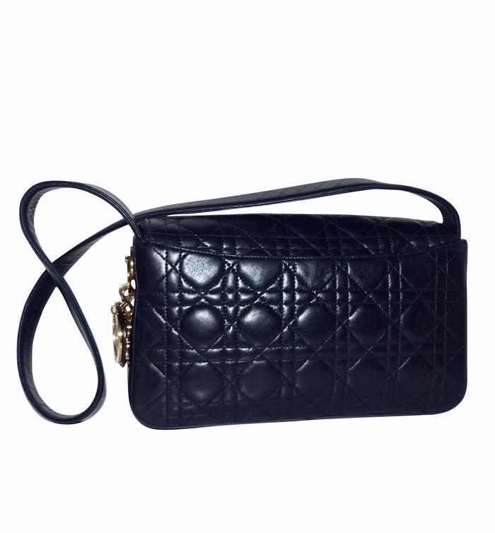 depot vente de luxe en ligne christian dior sac en cuir cannage noir | TendanceShopping.com
