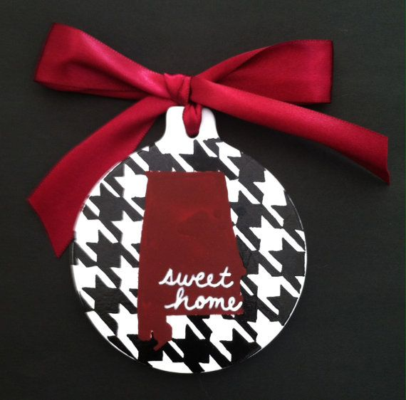 Alabama Christmas Ornament - Handpainted - Houndstooth - Sweet Home Alabama - Crimson Tide - Roll Tide Roll