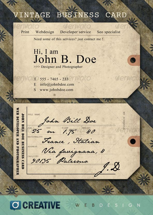 Pretty Vintage Business Card Ideas - Business Card Ideas - etadam.info