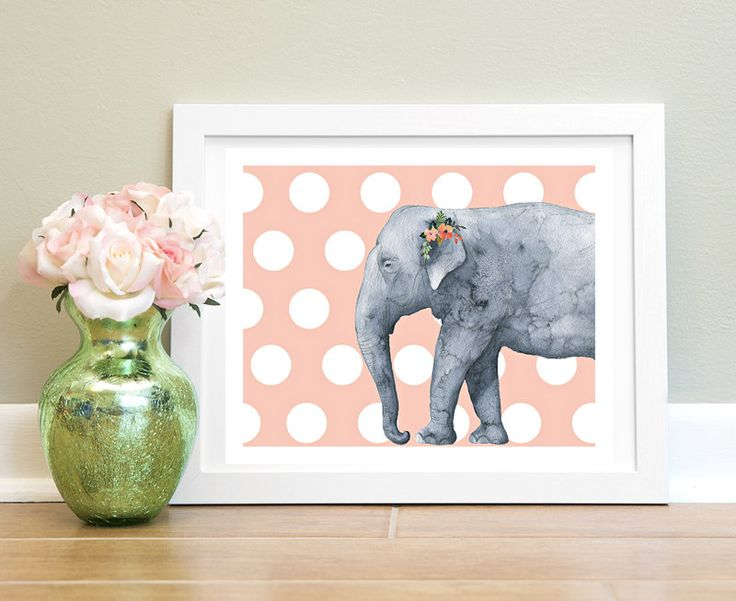 Elephant Printable Art Watercolor Elephant, Elephants Print, Baby Elephant Art, Polka dot Art, Elephant Print, Instant Download by MSdesignart on Etsy