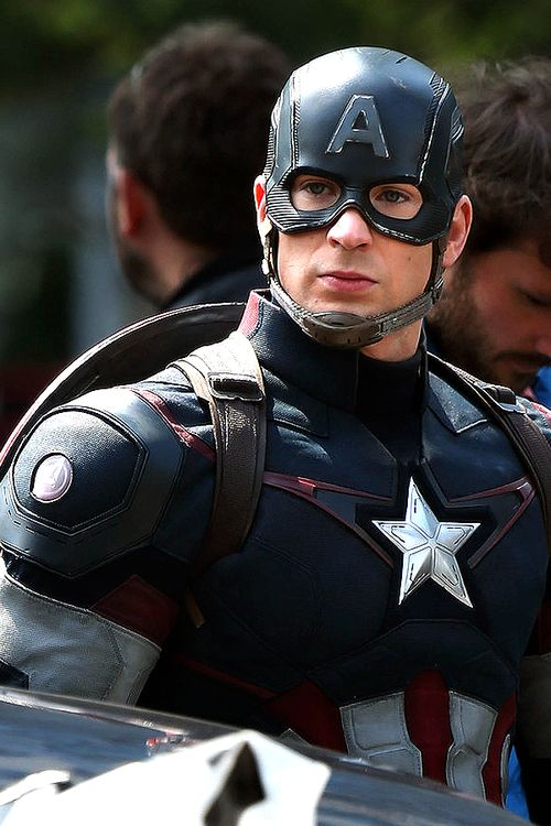 Chris Evans as Captain America on the set of Avengers: Age of Ultron ...