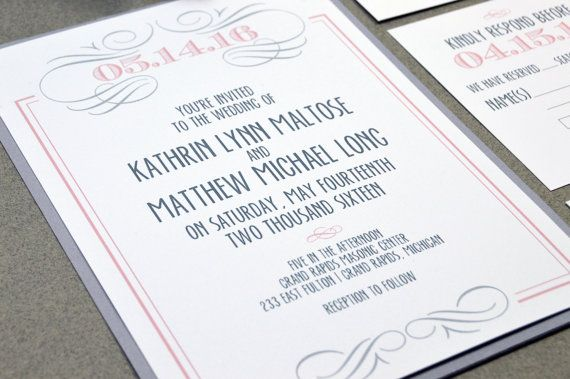 Swirl Wedding Invitation Suite - Romantic Wedding Invitations - Gray and Blush Wedding Pocket Folder Set - Modern Wedding Invites Elegant by RunkPockDesigns