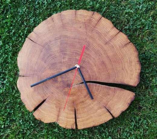Zegar ścienny z starego pnia dębowego, wyjątkowy ręcznie wykonany Osiek - image…
