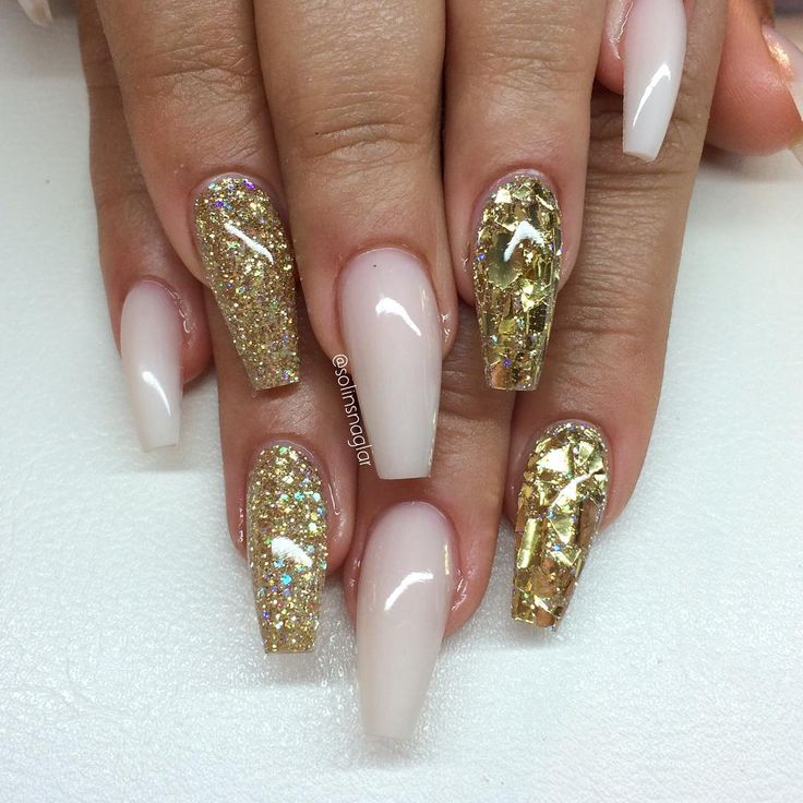 Frosted Pink Gold Glitter Gold Mylar Glitter Flakes Shattered Glass Long Coffin Nails Nail