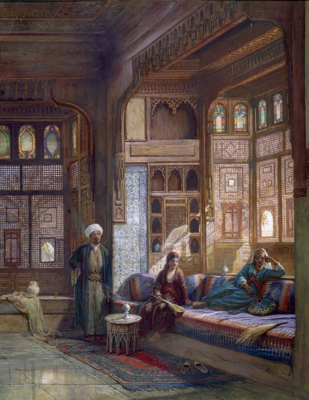 Harem in the house of Shayk Sadat, Cairo; 1875. By Frank Dillon,(1823-1909), british. Gouache.