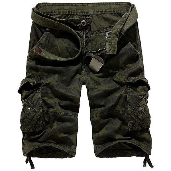 Zipper Fly Camouflage Stud Embellished Cargo Shorts (34 BAM) ❤ liked on Polyvore featuring men's fashion, men's clothing, men's shorts, mens camouflage cargo shorts, mens zipper pocket shorts, mens camo shorts, mens cargo shorts and mens camo cargo shorts