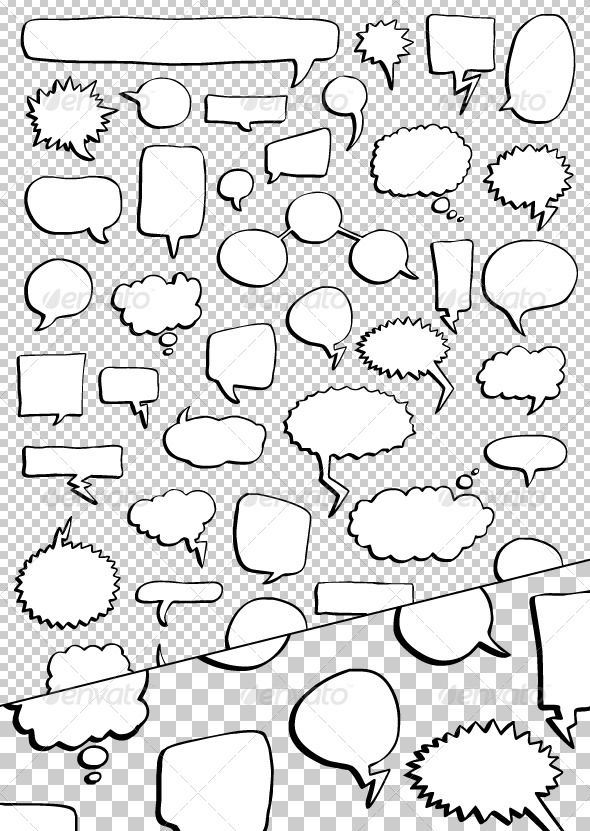 46 Hand Drawn Speech Bubbles Pack — Vector EPS #comics #cartoon • Available here → https://graphicriver.net/item/46-hand-drawn-speech-bubbles-pack/154475?ref=pxcr