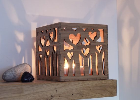 Wooden Tea Light Lantern /  Holder With Heart by BeamDesigns