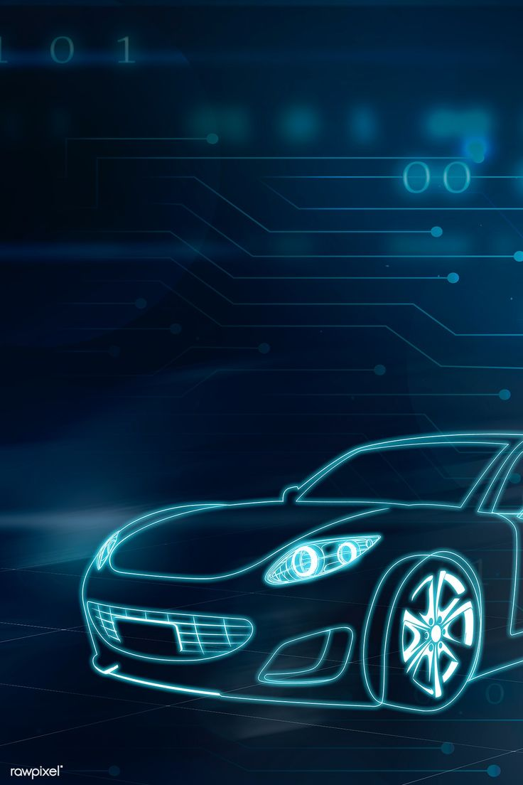 Download premium illustration of Blue neon sports car