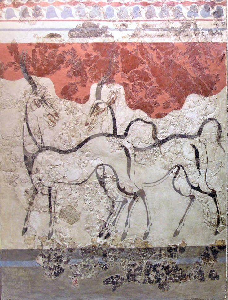 Fresque des Antilopes. Les deux antilopes sont dessinées à laide de lignes foncées appuyées sur un fond de plâtre blanc. Leurs figures sont simples et leurs mouvements expressifs. La fresque appartenait à la même pièce que celle des boxeurs, et peut-être à une composition plus complexe mêlant des figures humaines et animales c. 1200 BC