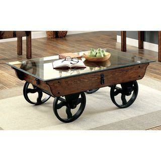 Shop for Furniture of America Charlotte Rustic Glass Top Coffee Table. Get free shipping at Overstock.com - Your Online Furniture Outlet Store! Get 5% in rewards with Club O!