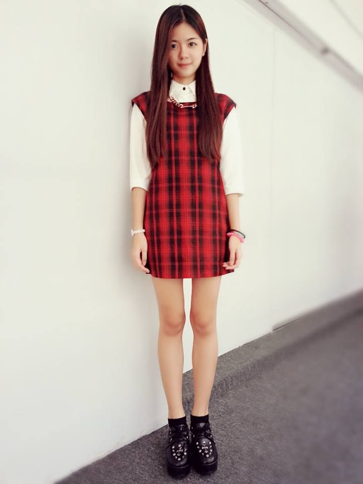 #red #checkered #dress