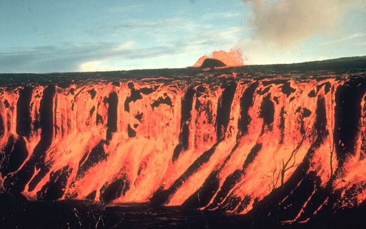 The lava fountain in the background is 30 meters high    December 30 1969, Hawaii volcanoes national park, 1969-71 Mauna Ulu eruption of Kilauea Volcano.