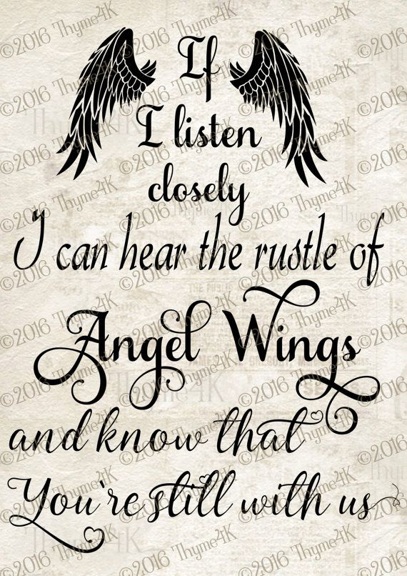 """Digital Design """"If I listen closely…Angel Wings… """" Instant Download- Memorial- Stencil – Signs – Cards. Multiple formats included – Natalie , du bist die Liebe meines Lebens  ❤️❤️❤️ Natalie, you are the love of my life , I love you"""