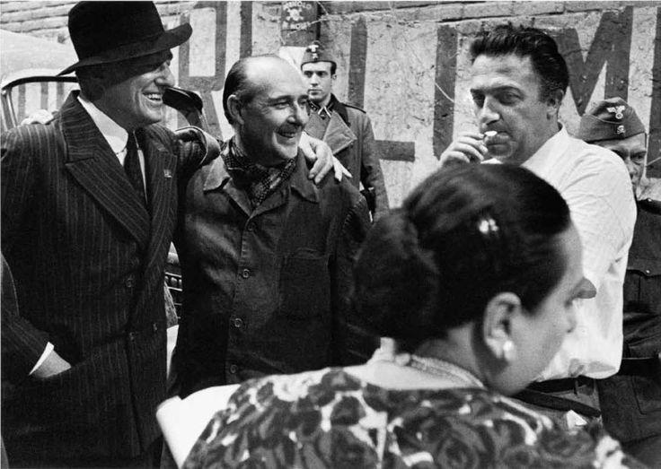 Vittorio De Sica, Roberto Rossellini and Federico Fellini in 1968 by William Klein.