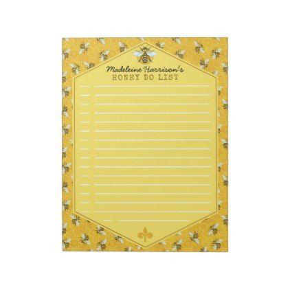 #template - #Honeybee Honeycomb Bumble Bee Honey Do List Custom Notepad