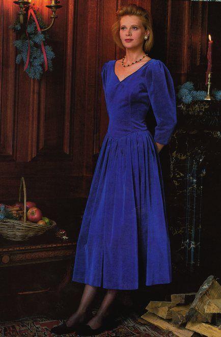 Laura Ashley (vintage). Christmas 1987. Elegant velveteen dress, low scoop back.
