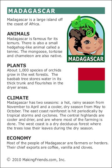 MakingFriends Facts about Madagascar Printable Thinking Day fact card for our passports. Perfect if you chose Madagascar for your Girl Scout Thinking Day or International Night celebration.