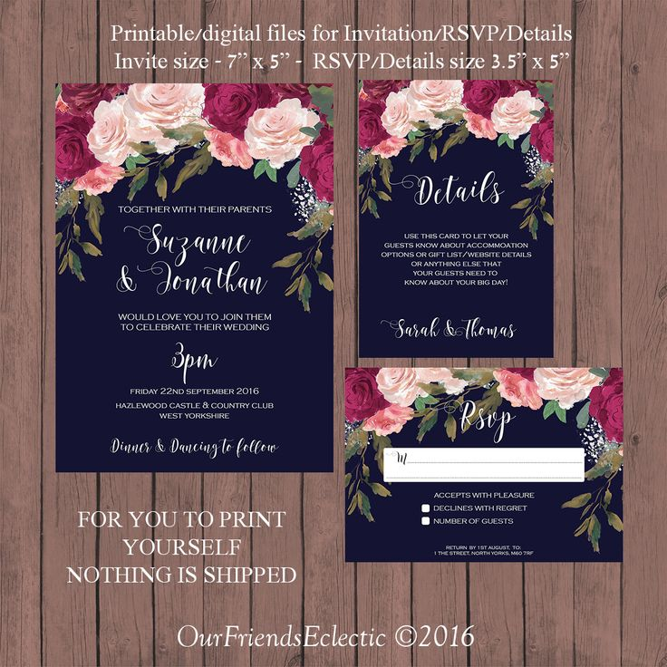navy burgundy wedding invitation, Printable wedding invitation set, digital wedding invitation suite, burgundy floral wedding invitation by OurFriendsEclectic on Etsy