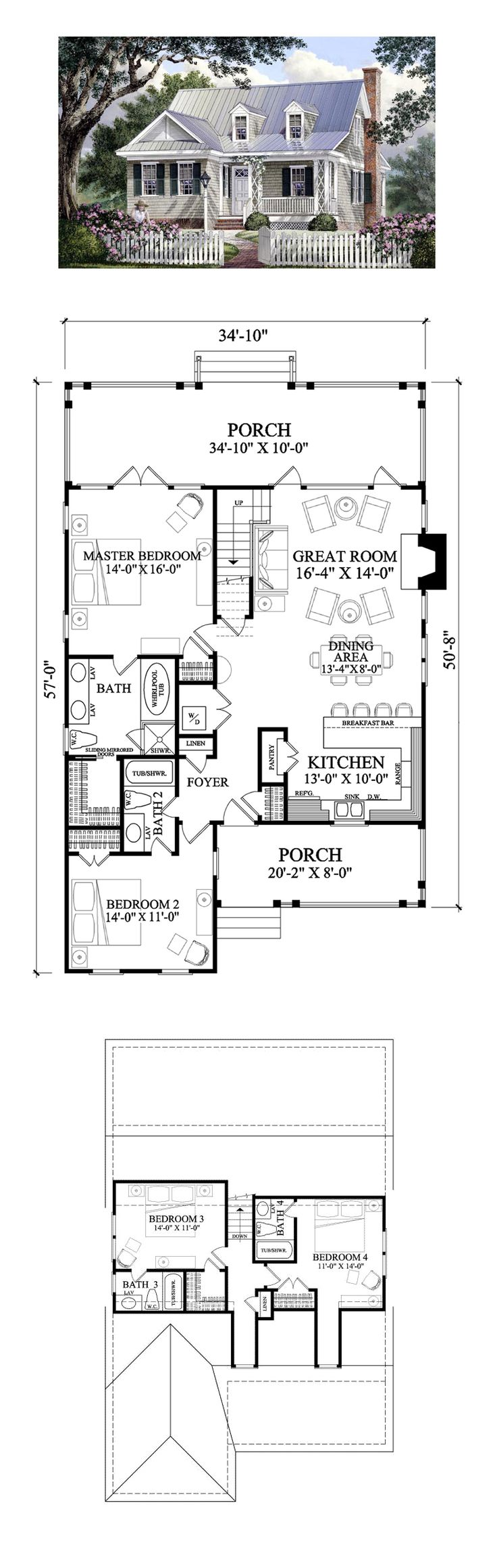 Cape cod cottage country southern house plan 86106 for Country cottage floor plans