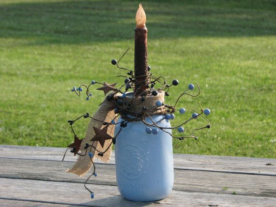 Primitive Mason Jar Candle  painted and by TheVineDesigns on Etsy