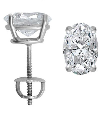 Platinum Oval Cut Diamond Stud Earrings 3 Ct Tw Ep