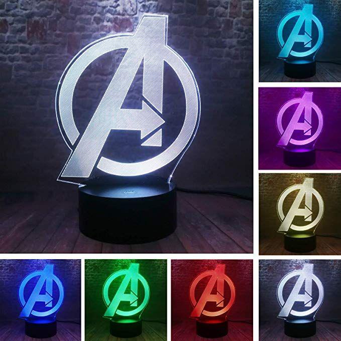 The Avengers 4 Sign Model 3d Illusion Led Nightlight Colourful Light Marvel Avengers Endgame Logo Figuras L Avengers Room Decor Marvel Room Marvel Boys Bedroom