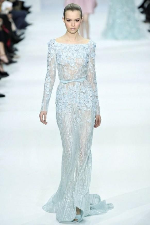 Ice Blue Bridal Elie Saab Wedding Dress.  Ancient Traditional Irish wedding dress color.