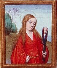 Catholic Saint: Agatha; calmly contemplating her severed breast.