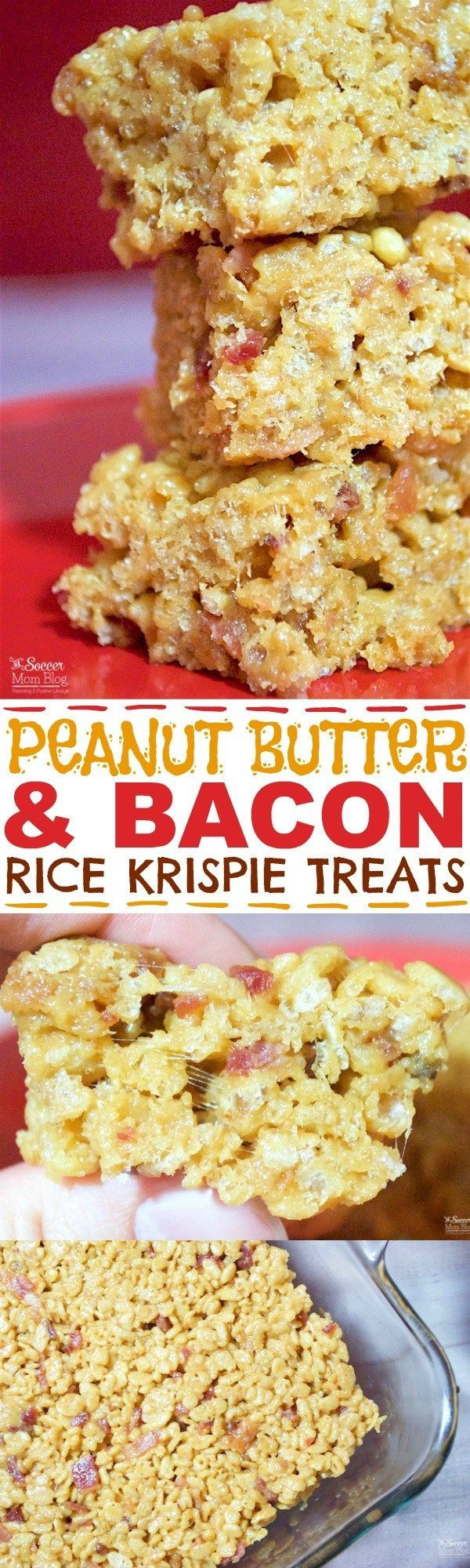 The PERFECT combination of sweet & salty -- Bacon Peanut Butter Rice Krispie Treats are an EASY crowd-pleasing NO BAKE dessert!