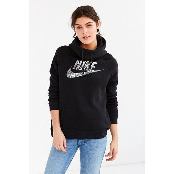 Nike Foil Rally Hoodie Sweatshirt ($40) ❤ liked on Polyvore featuring tops, hoodies, hooded pullover, long sleeve hoodies, long sleeve slouchy top, nike hoodies and slouchy tops