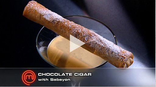 Chocolate Cigars with Sabayon by George Calombaris