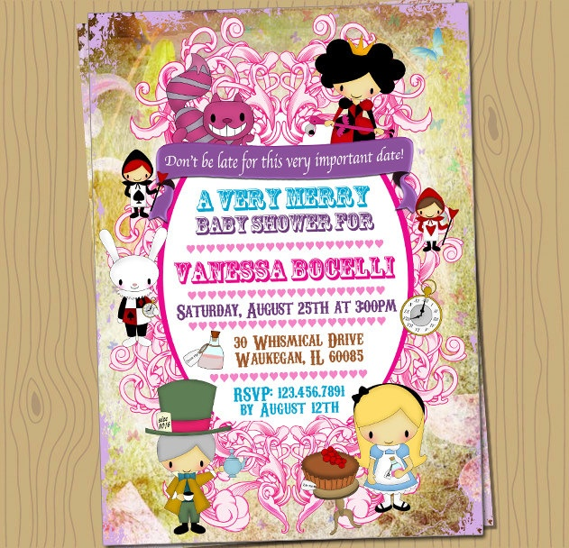 alice in wonderland baby shower custom invitation digital jpg file