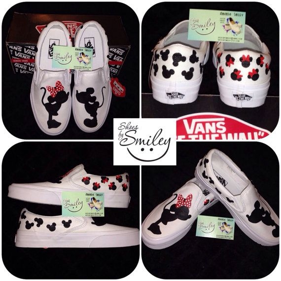 Disney Mickey Mouse and Minnie Silhouette hand by ShoesBySmiley, $130.00